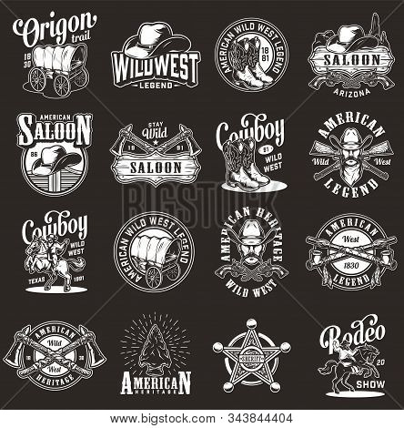 Vintage Monochrome Wild West Labels Set With Cowboy Rodeo Native American Indian Emblems And Badges