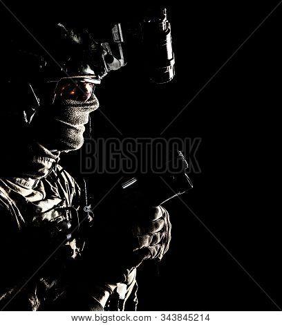Elite Commando Soldier Sneaking With Pistol In Hand