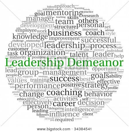 Leadership Demeanor concept in word tag cloud on white background
