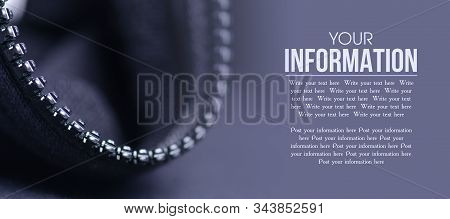 Black Fabric Texture Material Textile Zipper Macro Blur Background, Space For Text