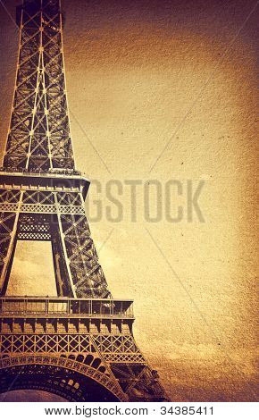 Vintage detail of Eiffel Tower