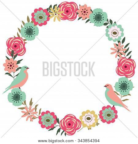 Vector Illustration Of A Floral Vintage Frame With Birds. Retro Flowers Background.