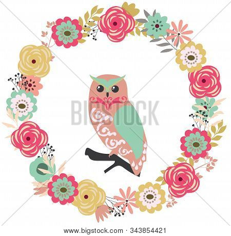 Vector Illustration Of A Floral Vintage Frame With An Owl. Retro Flowers Background.
