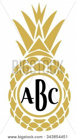 Vector Illustration Of A Golden Pineapple With Monogram.