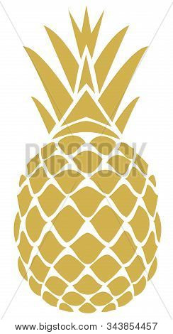 Vector Illustration Of A Golden Pineapple Isolated On White Background.