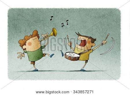 Children Have Fun Making Music, One Plays The Trumpet And The Other A Drum.