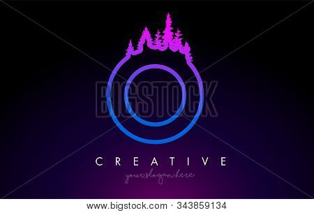 Creative O Letter Logo Idea With Pine Forest Trees. Letter O Design With Pine Tree On Topvector Illu