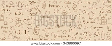 Coffee Seamless Pattern. Linear Drawings Of Cups, Coffee Pots And Coffee Grinders. Lettering Latte,