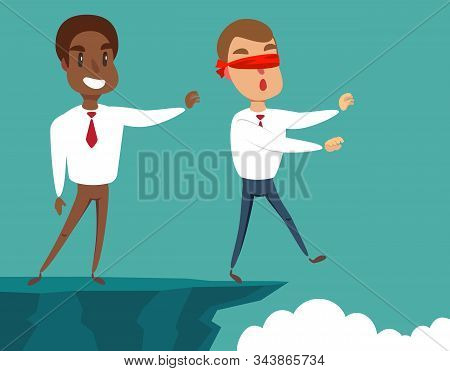 Business Man Pushing His Competitor Off The Cliff. Concept Of Competition, Sabotage And Danger Of Th