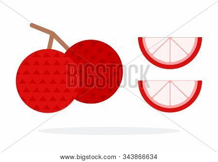 Two Lychee Fruit On A Branch And Two Lychee Wedges Flat Isolated