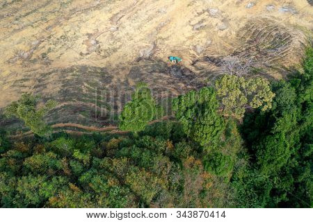 Deforestation. Aerial photo of rain forest destroyed to make way for agricultural land. Southeast Asia
