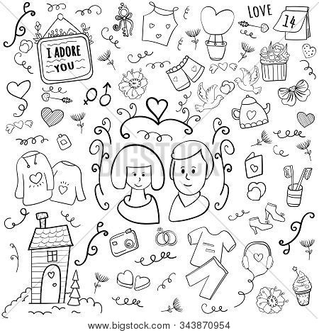 Happy Valentine. 14 February Doodle. Hearts And Love. Married Couple. Cartoon Vector Doodle Illustra