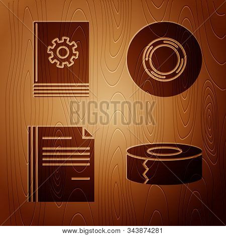 Set Scotch, User Manual, File Document And Scotch On Wooden Background. Vector
