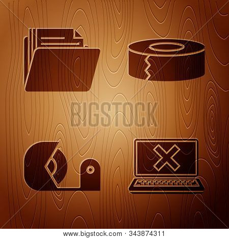 Set Laptop And Cross Mark On Screen, Document Folder, Scotch And Scotch On Wooden Background. Vector