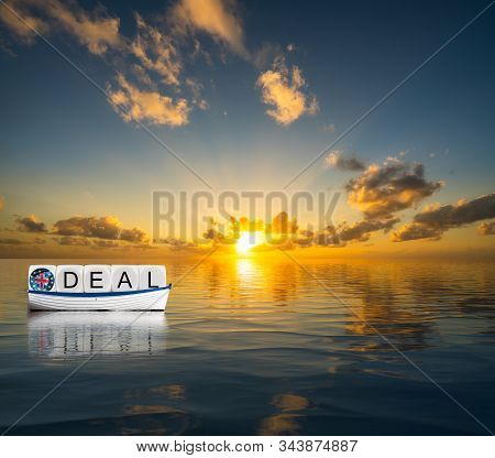 Illustrative Concept Of Successful Brexit Trading Deal In 2020 With Uk Ship Sailing Towards A Glorio