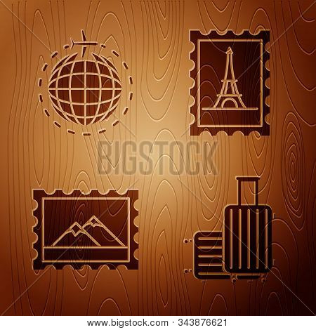 Set Suitcase For Travel, Globe With Flying Plane, Postal Stamp And Mountains And Postal Stamp And Ei