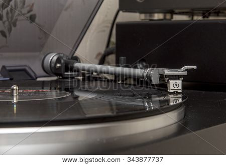 Dolgoprudny, Moscow Region, Russia. 01-04-2020. A Pioneer Vinyl Record Player Plays A Record Player.