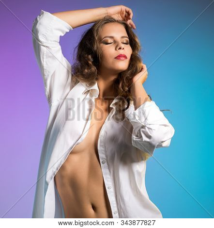 Sexy Brunette Posing In Blouse Over Her Naked Body