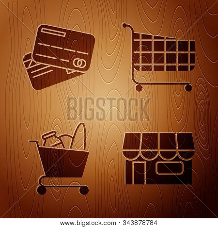 Set Shopping Building Or Market Store, Credit Card, Shopping Cart And Food And Shopping Cart On Wood