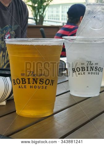 Asbury Park, Nj / United States - August 18, 2018: Drinks Outside At The Robinson Ale House On The B