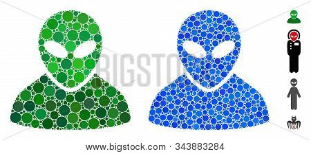 Alien Composition Of Filled Circles In Variable Sizes And Shades, Based On Alien Icon. Vector Random