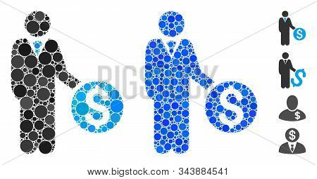 Banker Mosaic Of Spheric Dots In Various Sizes And Shades, Based On Banker Icon. Vector Circle Eleme