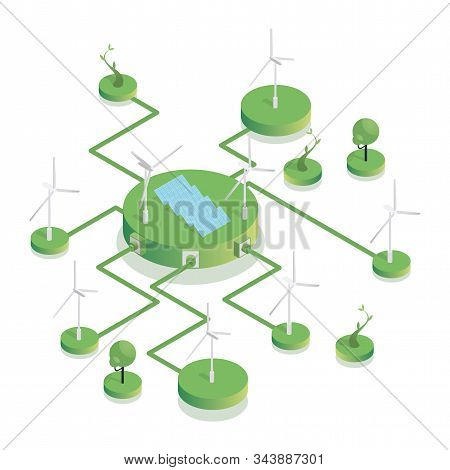 Eco Friendly Wind Farm Isometric Illustration. Sustainable Power Sources, Wind Turbines And Photovol