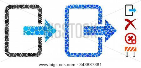 Exit Door Mosaic Of Round Dots In Variable Sizes And Color Hues, Based On Exit Door Icon. Vector Dot