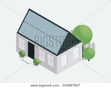 House With Solar Batteries Isometric Illustration. Modern Sustainable Architecture, Nature Conservat