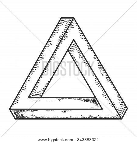 Penrose Impossible Tribar Triangle Sketch Engraving Vector Illustration. T-shirt Apparel Print Desig