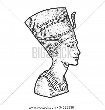 Nefertiti Ancient Egyptian Pharaoh Statue Sketch Engraving Vector Illustration. T-shirt Apparel Prin