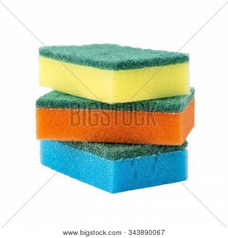 Sponges For Washing Dishes On A White Background. Multi-colored Sponges For Washing Dishes Isolated