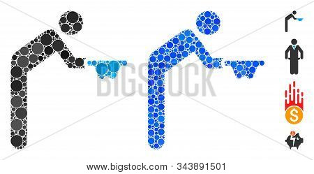 Beggar Composition Of Circle Elements In Various Sizes And Shades, Based On Beggar Icon. Vector Circ