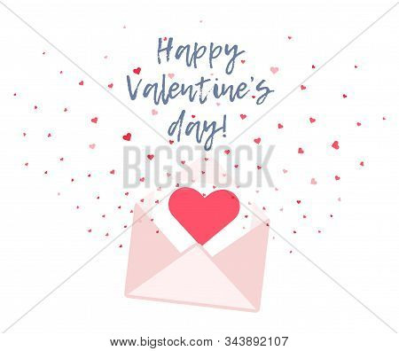 Cute Flat Vector Valentines Day Greeting Card With Red Hearts Flying Out Pink Envelope. Love Letter