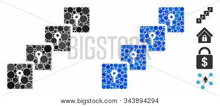 Locker Blockchain Composition Of Round Dots In Variable Sizes And Color Tints, Based On Locker Block