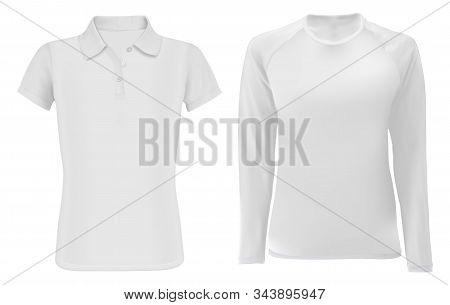 Polo Shirt Mock Up. Men Long Sleeve Apparel Blank. Young Fashion Textile Sport Wear Model Set For Pr
