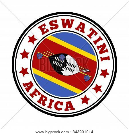 Eswatini Sign. Round Country Logo With Flag Of Eswatini. Vector Illustration.