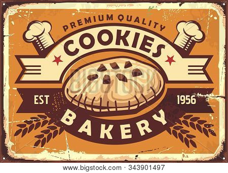 Delicious Homemade Cookies Retro Tin Sign Design With Chocolate Cookie, Chef Hat, Decorative Ribbons
