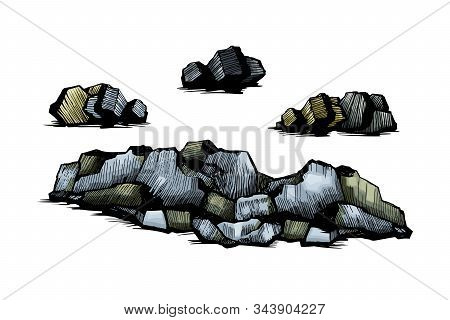 Stones Hand Drawn Set. Stones And Rocks In Drawing Stipple Style. Set Of Different Boulders. Vector