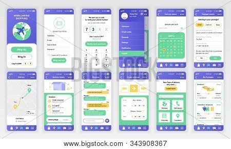 Set Of Ui, Ux, Gui Screens Delivery App Flat Design Template For Mobile Apps, Responsive Website Wir