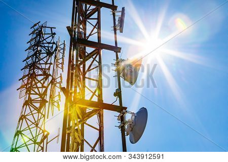 Electromagnetic Radiation Under The Hot Summer Sun, Colorful Radioactive Pollution Concept With Two