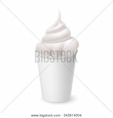 Whipped Vanilla Frozen Yogurt Or Soft Ice Cream In White Cardboard Cup. Isolated Illustration On Whi