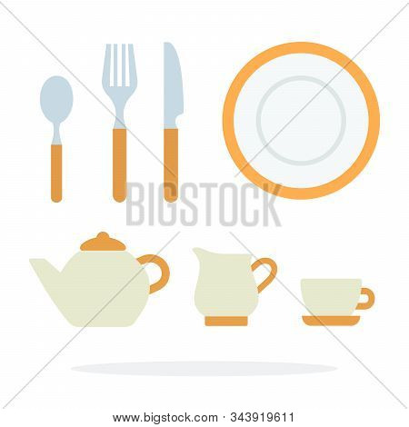 Dinnerware With Orange Piping And Tea Service Vector Flat Isolated