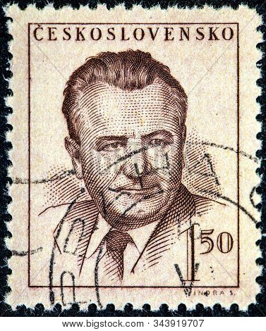 Czechoslovakia - Circa 1948: A Stamp Printed In The Czechoslovakia, Shows The President Of Czechoslo