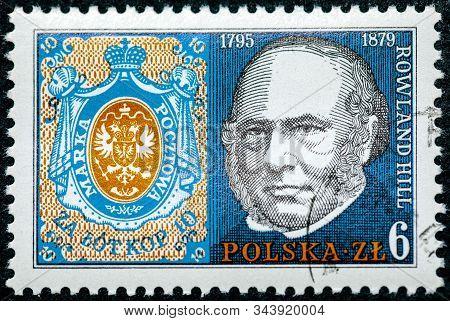 Poland - Circa 1978: A Stamp Printed In Poland Shows Poland No. 1, Rowland Hill (1795-1879), Origina
