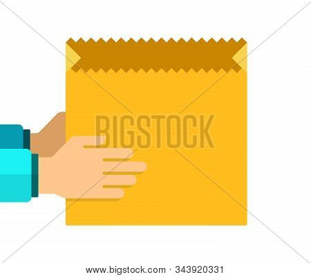 Empty Paper Food Bag In The Hands Of Vector Flat Isolated