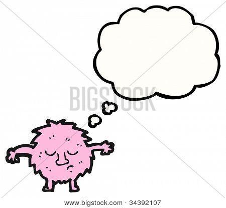 pink furry little creature cartoon poster