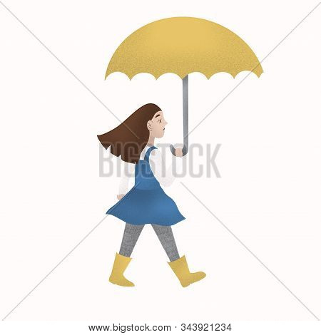 Girl In Blue Dress With Yellow Umbrella Wearing Rainboots. Isolated Picture For Your Projects, Copyc