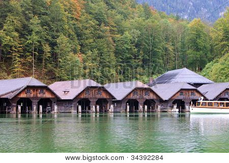 Wooden shipyard in the lake