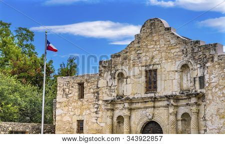Alamo Mission San Antonio Texas. Site 1836 Battle Between Texas Patriots And Mexican Army